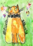 Barns teckning av den röda katten Royaltyfri Fotografi