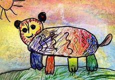 Barns teckning av en björn Royaltyfria Bilder
