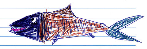 Barns teckning av en fisk Royaltyfria Bilder