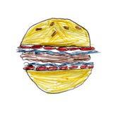 Barns teckning av en hamburgare Royaltyfri Foto