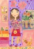 Barns teckning av en lycklig familj inom hus fotografering för bildbyråer