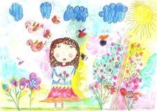 Barns teckning av en lycklig flicka på går utomhus stock illustrationer