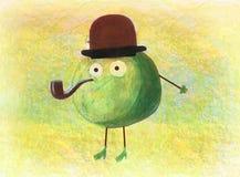 Barns teckning av ett grönt äpple Arkivfoton