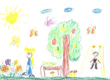 Barns teckning av familjen Fotografering för Bildbyråer