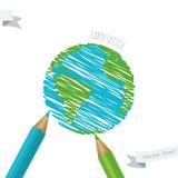 Barns teckning av planetjorden Arkivbild