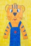 Barns teckning av tigern vektor illustrationer