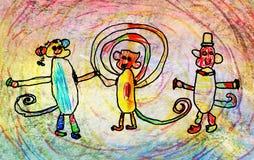 Barns teckning av tre apor Royaltyfri Fotografi