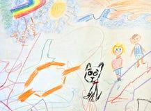 Barns teckning; barn och deras hund royaltyfri bild