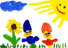 Barns teckning. barn på blommaäng Arkivfoton