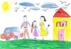Barns teckning en lycklig familj Royaltyfri Bild