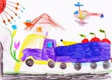 Barns teckning. lastbilen bär frukt Royaltyfria Foton