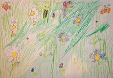 Barns teckning med blommor och djur royaltyfria foton
