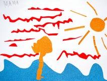 Barns teckning som är lycklig på havsmammaapplikationen stock illustrationer