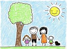 Barns teckningsfamilj Arkivfoton