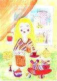 Barns teckningspåsk Royaltyfri Fotografi