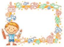 Barns teckningsram med den lilla målaren Royaltyfri Bild
