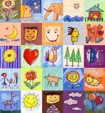 Barns teckningsstilar human för tecknad filmteckenfamilj Royaltyfri Bild
