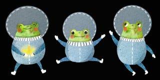 Barns upps?ttning av en gladlynt astronaut vektor illustrationer