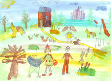 Barns vattenfärggata Royaltyfri Bild