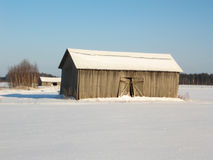 Barns in winter Stock Photo