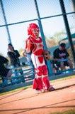 Barnserien i basebollbaseballstoppare Fotografering för Bildbyråer