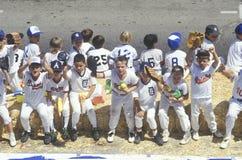 Barnserien i basebollbasketmatch Arkivbilder