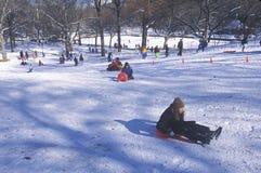 Barnsläderidning i Central Park, Manhattan, New York City, NY efter vintersnöstorm Royaltyfri Bild