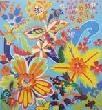 Barnslig applique med färgrika abstrakta blommor Fotografering för Bildbyråer