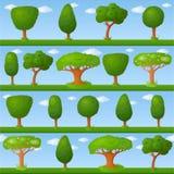 Barnslig bakgrund med små träd stock illustrationer
