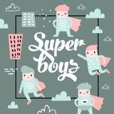 Barnslig design med den toppna hjälten för pojke stock illustrationer