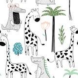 Barnslig djungeltextur med giraffet, krokodilen och tropiska beståndsdelar seamless modell också vektor för coreldrawillustration stock illustrationer