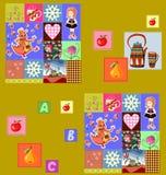 Barnslig sömlös patchworkmodell med felika motiv Gullig vect Royaltyfria Foton