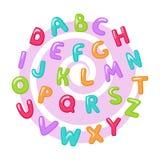 Barnsligt gulligt engelskt alfabet royaltyfri illustrationer