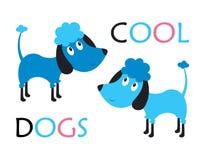 Barnsligt kort med hundkapplöpning stock illustrationer