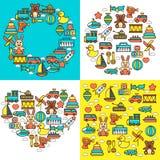 Barnsligt leksakerbarndomdagis som spelar modig gyckel stock illustrationer