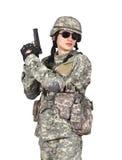 Barnsoldat med vapnet Arkivfoto