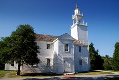 Barnstable, MA: 1717 Congregational Church. The historic white clapboard colonial-era 1717 Congregational Meeting House with its unadorned bell tower and cupola royalty free stock image
