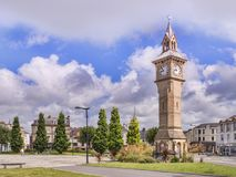 Barnstaple Devon Albert Clock. 15 June 2017: Barnstaple, Devon, UK - The Albert Clock and The Square in Barnstaple, Devon, England, UK Royalty Free Stock Image