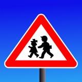 barnteckenvarning Arkivfoto