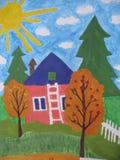 Barnteckning av ett familjhus Arkivfoto