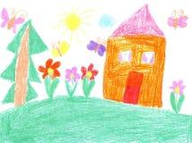 Barnteckning av ett hus Fotografering för Bildbyråer