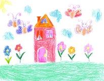 Barnteckning av ett hus Arkivbild