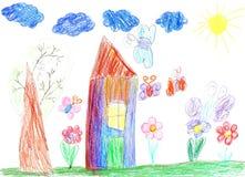 Barnteckning av ett hus Arkivfoto