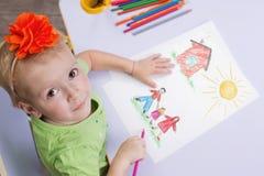 barnteckningar arkivbild