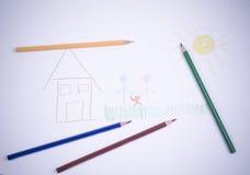 barnteckningar målar folkpersonen Arkivbilder