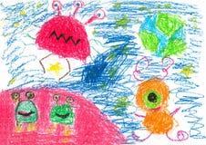 barnteckningar s Fotografering för Bildbyråer