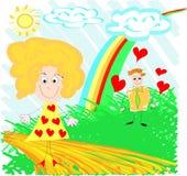barnteckningen skissar Arkivbild