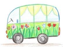 Barnteckningsbil Arkivbild
