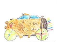 Barnteckningsbil Royaltyfria Bilder