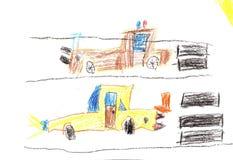 Barnteckningsbil Arkivfoto